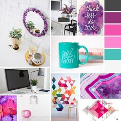 Moodboard que realicé para el diseño de mi sitio web. Colores: violeta, rosa, turquesa y gris.  #diseñoweb #branding