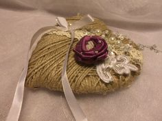 Rustic Chic Wedding ring bearer pillow by SweetsOfLiveWeddings