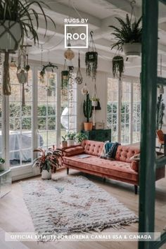 The hanging plants from the ceiling gives the feeling that you're in a glass greenhouse.  This living room space is so refreshing and is an artists' dream come true.  Featuring:  Lorena Canals Tuba Washable Wool Rug  (100% wool, handmade in India, machine washable in a domestic washer).  Sold by Rugs by Roo.  #lorenacanals #washablerug #plants Rustic Walls, Rustic Wall Decor, Rustic Bathroom Mirrors, Mediterranean Decor, Bohemian Interior, Home Interior Design, Living Spaces, Living Room, Instagram