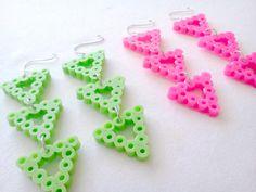 Neon Green Tribal Triangle Dangle Earrings by enthusiart on Etsy, $10.00