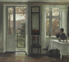 Carl Holsøe (Danish, 1863-1935), The Artist's Wife sitting at a Window in a Sunlit Room. Oil on canvas, 81.9 x 90.2 cm.