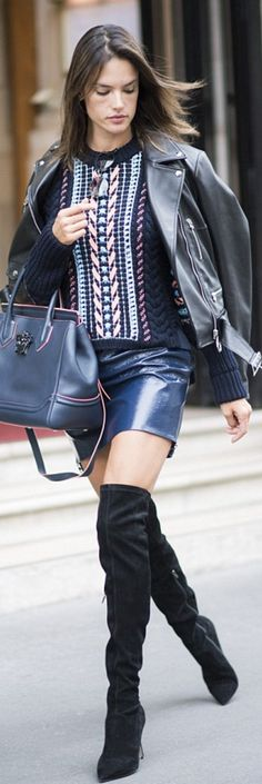 Who made  Alessandra Ambrosio's pink print sweater, black leather jacket, handbag, and blue mini skirt?