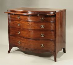 George III Highly Figured Mahogany Serpentine Chest of Drawers England, c1790 with Brushing Slide & Original Dublin Style 2-Part Brasses