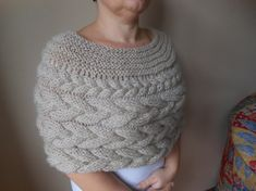 Cable Knitted Shawl Capelet Wedding Shrug Poncho by MyKnitCroch
