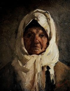 Nicolae Grigorescu - Portrait old woman Classic Paintings, High Art, Famous Artists, Traditional House, Romania, Art Gallery, Sculpture, Drawings, Modern