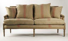 Louis Sofa [B007-3 E255-3 A033 Red Stripe] - $1,095.00 : zentique.com -