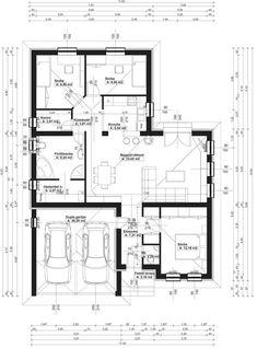 családi ház alaprajzok garázzsal - Google keresés 4 Bedroom House Plans, Porch Garden, House Layouts, Planer, Interior And Exterior, Bungalow, Building A House, Modern Design, Sweet Home