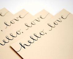 Hello Love Stationery Set Handwritten Cards by EmDashPaperCo, $12.50