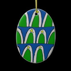 Abstract Christmas Trees on oval porcelain ornament