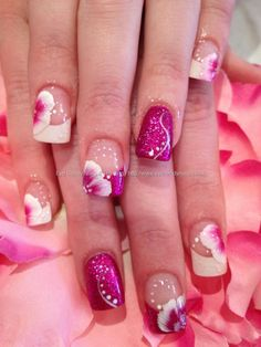 Flowers and frenc mani Acrylic nails