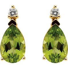 Jewels By Lux Set 925 Sterling Silver Genuine Peridot Polished Genuine Peridot And .025 CTW Diamond Earrings