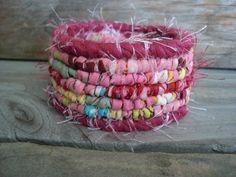 Pink Multicolor Scrappy Bracelet  Berries and by rattydaddydinkdum, $20.00