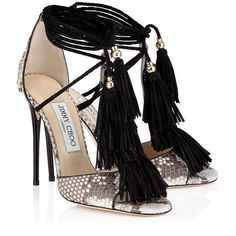 Jimmy Choo Mindy 110 Natural Python #Sandals with Black Suede Tassels #women #style #shoes