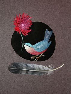 I love the flower so much. Another beautiful bird by Geninne Zlatkis.