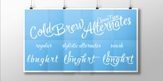 Check out the Cold Brew font at Fontspring. You can for example easily create custom letters by combining the swash shapes from Extras with the letters. Hand Lettering Fonts, Font Family, Cold Brew, Brewing, How To Draw Hands, Desktop, Neon Signs, Letters, Shapes