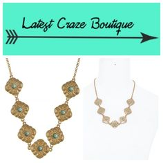 Turquoise + Gold Necklace Faux turquoise stones bezeled in a gold etched metal, lobster claw clasp, approx. 16in long with 3in extender. Latest Craze Boutique Jewelry Necklaces