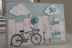 Eine Freundin hat mich um eine Karte zu einem 50. Geburtstag gebeten, eine Herrenkarte sollte es werden mit einem Fahrrad. Da ich nur...