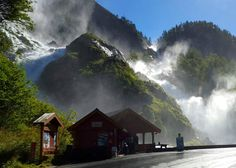 **Latefossen (waterfall frozen in winter) - Odda, Norway