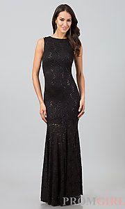 Buy Floor Length Sleeveless Lace Dress at PromGirl