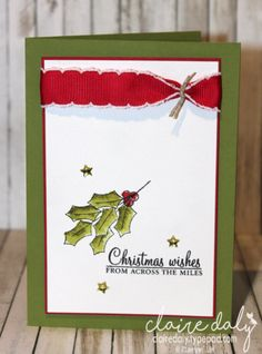 Simple DIY Christmas card using Stampin' Up! Holly Berry Happiness