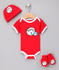 Take a look at this Red 'Thing 2' Bodysuit Set - Infant by Dr. Seuss Boutique on #zulily today!  done!!