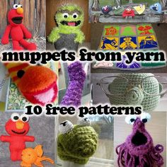 Muppets from Yarn! 10 Free Knit and Crochet Patterns. http://www.mooglyblog.com/muppets-from-yarn-knitting-crochet-patterns/
