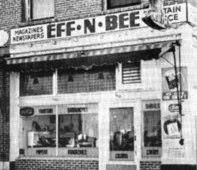Eff-N-Bee Cafe, Newsstand & Bus Stop, Main Street, Yerington, NV 1950's