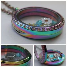 NEW! Large Rainbow Titanium Finish Glass Floating Charm Living Memory Locket with Chain