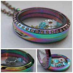 NEW! Large Rainbow Titanium Finish Glass Floating Charm Living Memory Locket with Chain