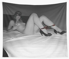 Sexy posing at the bed, slave girl BW with red 2 by casemiroarts