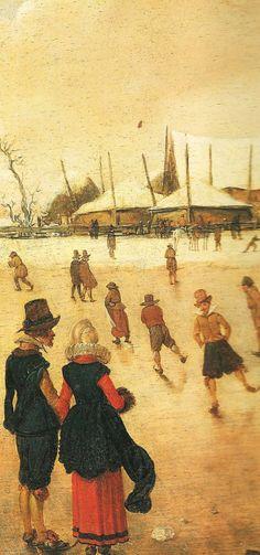 Detail from Esaias ven den Velde (c.1591-1630) Winter Landscape 1616