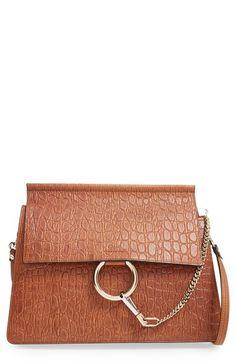 Chloé 'Faye' Croc Embossed Leather Shoulder Bag available at #Nordstrom