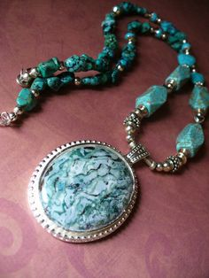 Painted Porcelain Pendant & Turquoise Necklace by SuttersGold, $125.00