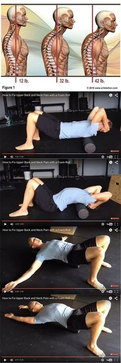 How to fix upper back and neck pain with a foam roller. # back and neck pain The Best Foam Roller Exercises You Should Be Doing Fitness Workouts, Sport Fitness, Fitness Motivation, Health Fitness, Fitness Diet, Sport Motivation, Health Diet, Fitness Weights, Wednesday Motivation