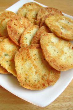 Garlic Rosemary Cheese Crisps.  Um, yeah.  Make these.  So easy.