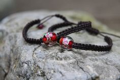 Red Rosebud  Brown Adjustable Macrame by TheWickedGiftShop on Etsy