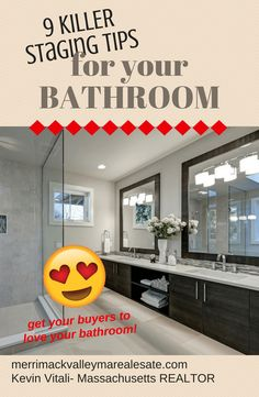 9 KILLER Home Staging Tips for Your Bathroom Appeal to Buyers! is part of home Staging Flyer - Buyers want to fall in LOVE with your bathrooms After kitchens the most important areas in your home Get 9 Killer home staging tips for your bathroom Cute Dorm Rooms, Cool Rooms, Home Renovation, Home Remodeling, Kitchen Remodeling, Bathroom Staging, Bathroom Ideas, Kitchen Staging, Master Bathroom