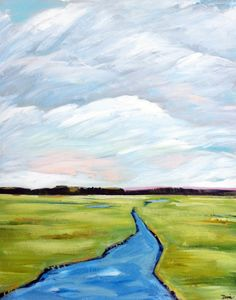 Abstract Low Country Marsh Painting Large
