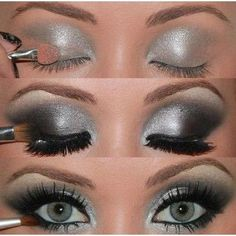 black and silver eyeshadow :) Im so doing this for the holidays! I need a good silver... maybe a loose eye shadow