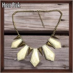 💙HP: Statement Necklace; NWOT Polished stone colored enamel set into goldtone and accented with goldtone spikes. An edgy statement piece with an adjustable length chain. NWOT; Never worn and on perfect condition. 💙 Wardrobe Goals Host Pick. Jewelry Necklaces