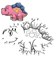 Illustration about Vector Illustration of Education dot to dot game - Dinosaur. Illustration of prehistoric, freak, carboniferous - 65067243 Vector Game, Fish Vector, Cat Vector, Dinosaurs Preschool, Preschool Activities, Spot The Difference Kids, Mazes For Kids Printable, Rooster Vector, Animales