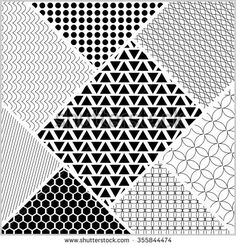 Monochromatic tile whit patterns in patch work style. White and black design, vector ornament