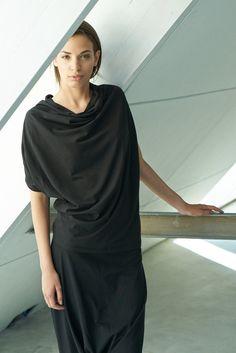 Loose Black Top/ Oversized Short Sleeved Blouse/ Bat Black Top by Arya Sense/ BATKR14BL
