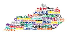 Large KENTUCKY 17x8.5 - Digital Illustration Print of Kentucky State with Cities. $20.00, via Etsy.