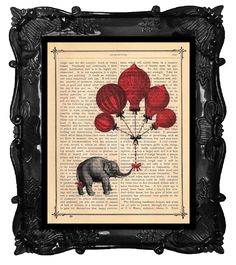 What a cute idea. Print something on a page of your favorite book.   This one shows a Balloons Elephant a gift book print - Elephant a gift - collage Printed on vintage dictionary book page. $10.00, via Etsy.