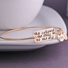 She Believed She Could Bracelet - Gold Bangle Bracelet, Graduation Jewelry Gift from georgie designs personalized jewelry Motivational quotes motivation quotes Gold Bangle Bracelet, Gold Bangles, Bracelet Photo, Diamond Bracelets, Graduation Jewelry, She Believed She Could, Graduation Gifts, Graduation 2016, Graduation Parties