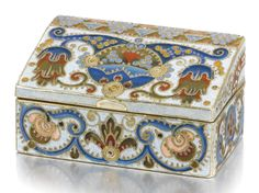 A Fabergé silver-gilt and cloisonné enamel box, probably Feodor Rückert, Moscow, circa 1910