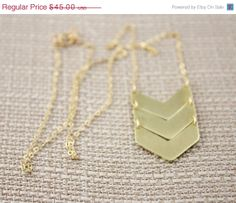 Holiday Sale Gold Chevron Necklace 14k Gold Filled Chain by true2u, $38.25
