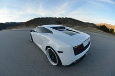 Gallardo. White on Black. Twin Turbo. 1000 BHP. Gorgeous. I want.
