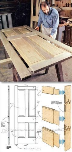 Making Wooden Doors - Door Construction and Techniques! For more great woodworking tips visit www. Woodworking Furniture, Furniture Plans, Teds Woodworking, Diy Furniture, Woodworking Projects, The Doors, Wood Doors, Panel Doors, Front Doors